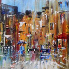 """Tableau """"parapluie en ville"""" huile au couteau sur toile"""