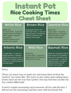 Instant pot rice cooking times cheat sheet! Free pdf printable for handy reference to keep in your kitchen. #instantpot
