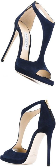 JIMMY CHOO 'Lana 120' sandals Blue goat skin and leather 'Lana 120' sandals from Jimmy Choo featuring an open toe, cut out details, a rear zip fastening, a brand embossed insole and a high stiletto heel. I want!!