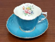 Aynsley Turquoise Pink Rose Floral with Gold Trim Cup Saucer | eBay