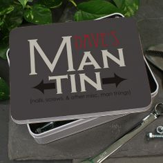 """Personalized Man Storage Tin #mancave This Personalized Man Tin makes the perfect gift for him. It serves as a fun storage place for all of his extra screws, nails and little miscellaneous pieces that don't have a home. He'll love to keep his tin nearby just in case he needs that one little extra piece he's been looking for! This manly design is printed on our 6"""" x 8"""" metal tin. Free personalization of any name is included."""