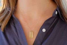 Personalized Gold Initial Necklace / Custom Gold Bar Name Necklace / Multiple Tags / Mommy Jewelry / Mothers Necklace / Hand Stamped Jewelry