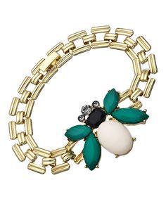 Blu Bijoux Gold Green White and Crystal Bumblebee Bracelet