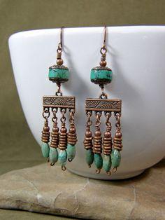 Turquoise Earrings - Chandelier Earrings - Copper Earrings - Southwest Earrings - Ethnic Earrings - Tribal Jewelry. $29.00, via Etsy.
