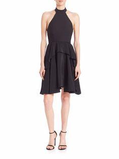 $425 Elizabeth and James Black Tiered Silk Halter Jenner Dress 2 NWT E361 #ElizabethandJames #Tiered #Cocktail