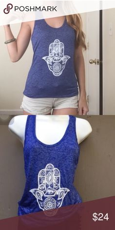 Free size small/medium Hamsa top New for 2016 designed by our local Balinese artist exclusively for the island goddess collection, our free size cobalt blue Hamsa. Perfect universal fit for small-medium size. Gorgeous lightweight cotton tank is perfect for summer 2016 handmade Tops Tank Tops