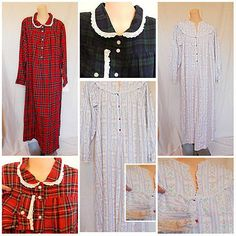 1 blue plaid in L left.   Lanz Flannel Nightgown Red or Blue Plaid or Heart Print Button Front M L | eBay