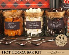 *********+********* Hot Chocolate Bars have become a staple at wintertime parties! Decorate your hot cocoa bar with this easy to use Hot Chocolate Bar Kit. Choclate Bar, Hot Chocolate Bars, Chocolate Drizzle, Chocolate Shavings, Chocolate Cherry, Chocolate Party, Hot Chocolate Toppings, Cocoa Party, Chocolates
