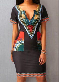 Pocket Split Neck Short Sleeve Dress on sale only US$29.69 now, buy cheap Pocket Split Neck Short Sleeve Dress at liligal.com