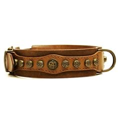 Royal Antique Studded Leather Dog Collar is 2 inches wide with two layers of the highest quality leather. Ornaments and hardware are solid brass.