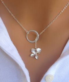 Orchid and circle lariat necklace in sterling by RoyalGoldGifts, $24.00