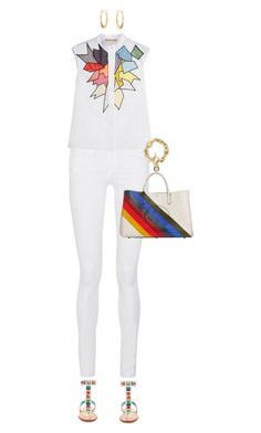 """""""Jeans And Sandals  For Spring"""" by ittie-kittie ❤ liked on Polyvore featuring Frame Denim, Christopher Kane, Fendi, Anya Hindmarch, Blue Nile, Michael Kors, white, rainbow, SpringStyle and springfashion"""