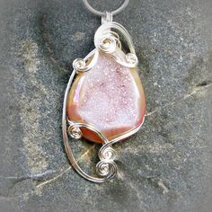 Pink Crystal Titanium Druzy Agate Wire Wrapped Pendant Necklace in Silver by CareMoreCreations.com, $63.00