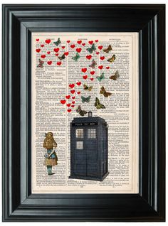 Doctor Who Tardis dictionary art print book page antique vintage dictionary print wall art, Victorian decor, Alice in Wonderland Butterflys on Etsy, $9.53