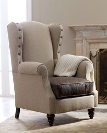 never been drawn to wingbacks, but loving this burlap and leather one with nailhead trim.