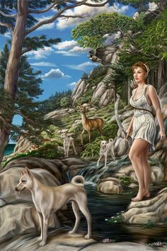 In Roman art Diana usually appears as a huntress with bow and arrow, along with a hunting dog or a stag. Both a virgin goddess and an earth goddess, she was identified with the Greek Artemis. She is praised for her strength, athletic grace, beauty and her hunting skills. With two other deities she made up a trinity: Egeria the water nymph (her servant and assistant midwife), and Virbius (the woodland god). - Also means deception when pulled in Tarot readings.