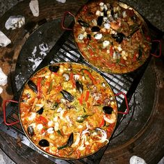 Seafood Paella cooked on an open fire pit