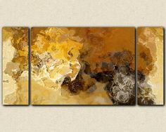 "Abstract expressionism triptych canvas print, 30x60 to 40x78 sofa sized giclee in earth colors, from abstract painting ""Desert Biome"""
