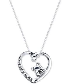 Disney Heart Pooh Pendant Necklace in Sterling Silver | macys.com