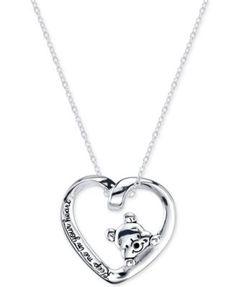 Disney Heart Pooh Pendant Necklace in Sterling Silver   macys.com