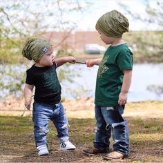 Best new buds rocking their moss green beanies together 💚💚