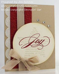 "Kraft, red and cream. Love ♥  Stamps: The Sounding Joy  Paper: Crumb Cake, Cherry Cobbler, Very Vanilla, Silver Glimmer Paper  Ink: Crumb Cake, Cherry Cobbler  Accessories: Big Shot, Petals-a-Plenty embossing folder, 3 1/2"" Circle die, Tasteful Trim Bigz XL die, Crumb Cake seam binding ribbon, Basic Rhinestones"