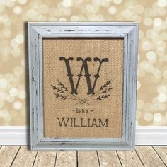 Initial and Name Monogrammed Burlap Art Print - Baby Gift - Nursery Decor - Baby Shower on Etsy, $20.00