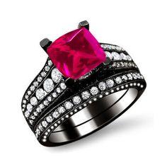 Princess Cut Pink Sapphire 925 Sterling Silver Black Engagement/Wedding Ring Bridal Set