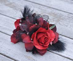 Wrist Corsage Red Rose Black Pearl Bracelet by Hollysflowershoppe