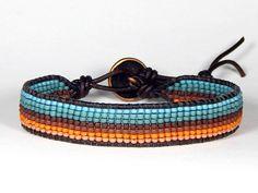 Telar pulsera cuero Wrap Pulsera horizonte azul turquesa