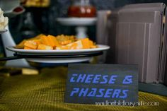 Star Trek: The Next Generation party food- Cheese and phasers (cheese and crackers)