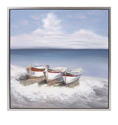 Seaside Boats on Canvas with Frame