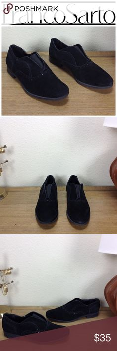 Franco Sarto Black Suede Oxfords Black suede almond toe oxfords with elastic band for pull on ease. In excellent condition with no visible scratches, spots or marks.  Thanks for your interest! Please checkout the rest of my closet. Franco Sarto Shoes Flats & Loafers