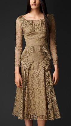 Embroidered Lace Slash Neck Dress | Burberry
