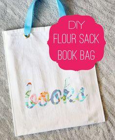 DIY Flour Sack Book Bag