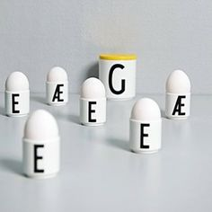 Design Letters new egg cups with Arne Jacobsen's typography.