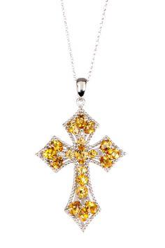 Sterling silver, Diamond & Citrine Cross Pendant Necklace - 0.06 ctw