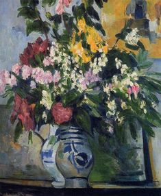 Two Vases of Flowers, 1877 by Paul Cezanne, Impressionist period. Impressionism. flower painting. Private Collection