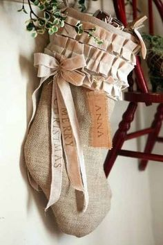 Farmhouse Christmas Decorations, Burlap Stocking Ideas,