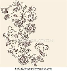 Stock Illustration - Vines Henna Tattoo Paisley Vector. Fotosearch - Search Clip Art, Drawings, Fine Art Prints, Illustrations, and Vector E...