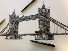 Awesome #architecture #penandink #drawing by @liamhippleillustration of #TowerBridge in #London. I was excited to see this since Liam's drawing of Parliament was so popular (and I'm a bit of an #anglophile). Given the scale of this #illustration (i.e. not on a large sheet of paper) I'm VERY impressed about how much detail Liam was able to include in each #tower and the #bridge's #archectural and #structural details. Also the shading and other details that make the supporting #stones look…