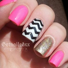 #chevrons #gold #pink