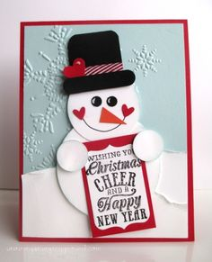 Punch Art Snowman -  Diana Raney, This snowman just makes me happy. I cased the design from Heidi Boos (at http://stuckonstampin.blogspot.com/2011/11/sharing-little-bit-of-christmas-with.html) and tweaked it slightly.