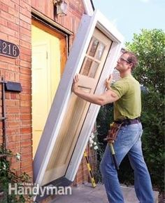 Pre-hung doors simplify installation.  #FamilyHandyman gives step-by-step instructions with great photos! :) ib