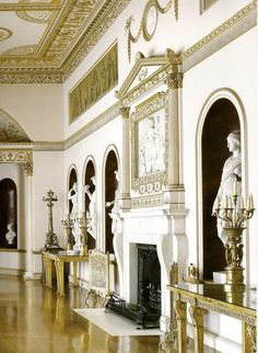 Syon House State Dining Room, now a Ballroom. Robert Adam began the interior reconstruction project in 1762.