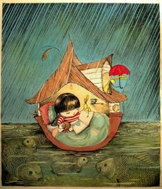 Each reading is like a little ark - illustration by Geertje Grom I Love Books, My Books, Reading Art, Girl Reading, World Of Books, Children's Book Illustration, Book Nerd, Oeuvre D'art, Cute Art