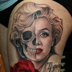 Marilyn Monroe Quote Tattoos. Tattoo by Aaron Peters. #inked #inkedmag #tattoo #marilyn #monroe #quote #amazing #portrait