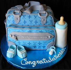 Louis Vuitton Diaper Bag Baby Shower Cake, made by Elizabeth Marek! Baby Shower Cakes For Boys, Baby Shower Diapers, Baby Boy Shower, Diaper Shower, Diaper Bag Cake, Boy Diaper Bags, Baby Cakes, Cupcake Cakes, Pink Cakes