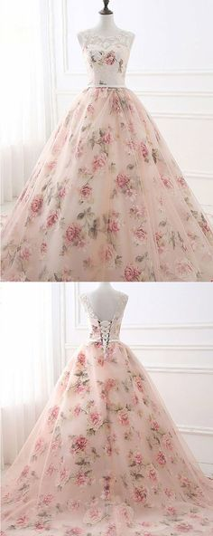 Ball Gown Printed Prom Dress with Appliques, Gorgeous Evening Party Dress #eveningdresses #party