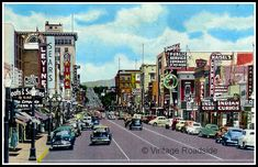 """pinner says """"A wonderful vintage postcard showing the amazing collection of neon signage along Central Avenue in Albuquerque, New Mexico. A nice look at the heyday of Route Downtown Albuquerque, Albuquerque News, University Of New Mexico, New Mexico Usa, Old Pictures, Old Photos, Vintage Photos, Montezuma Castle, Duke City"""